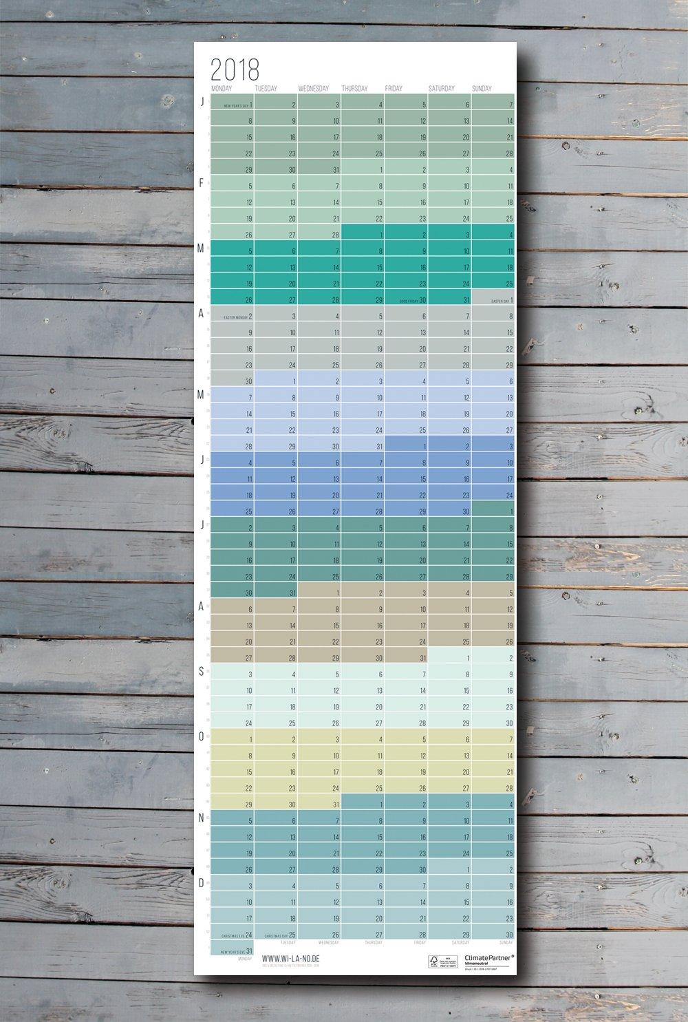 Wandkalender Wallplanner 2018 Pastell Design Calendar