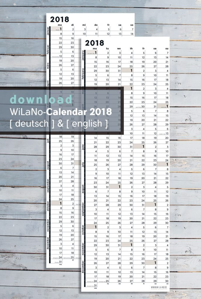 Wandkalender Printable DIY Download