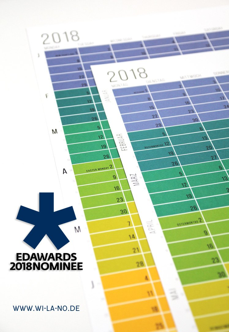 Der WiLaNo-Kalender ist nominiert für den European Design Award 2018