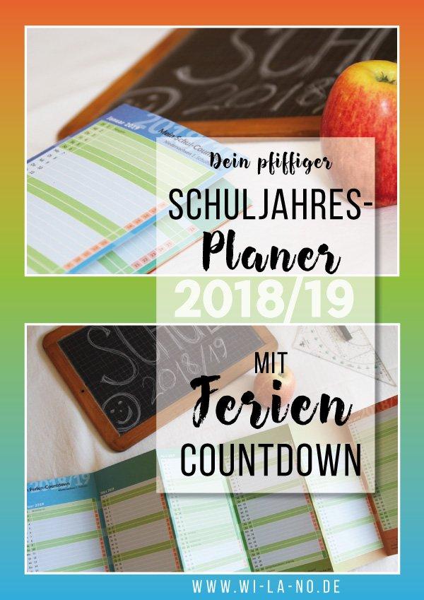 Schuljahresplaner mit Ferien-Countdown 2018/19 für Niedersachsen und Berlin