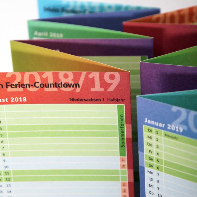 Schülerkalender mit Ferien-Countdown 2018/19 für Niedersachsen und Berlin