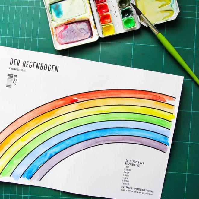 Regenbogen Ausmalbild für Kinder Download Malvorlage