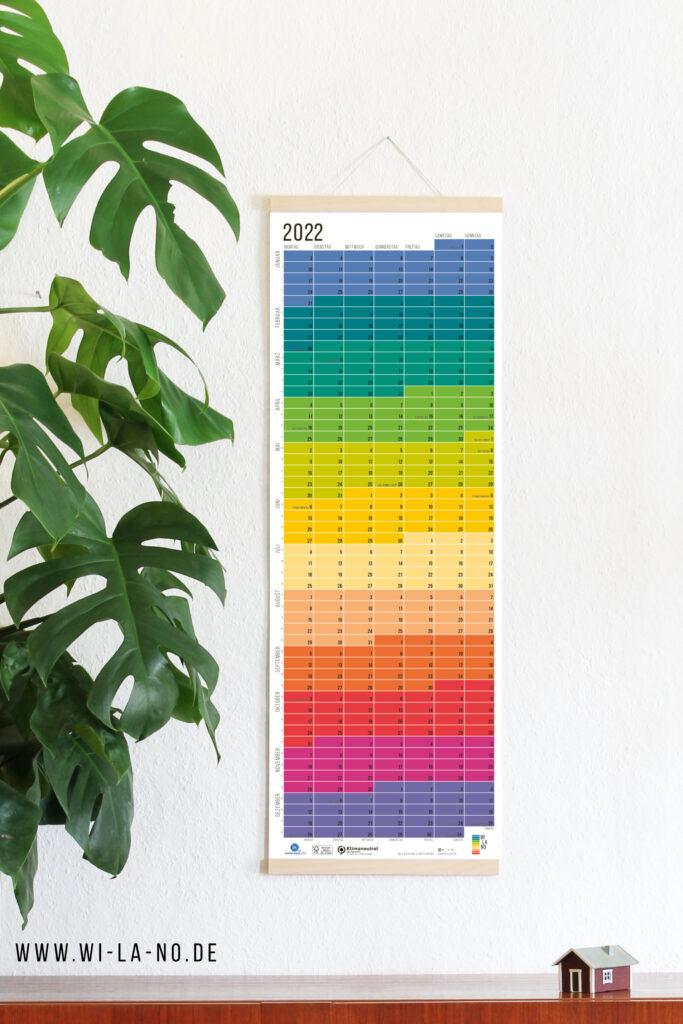 2022 Wandkalender Jahresplaner Wi-La-No Calendar Designkalender Regenbogen Bunter Kalender